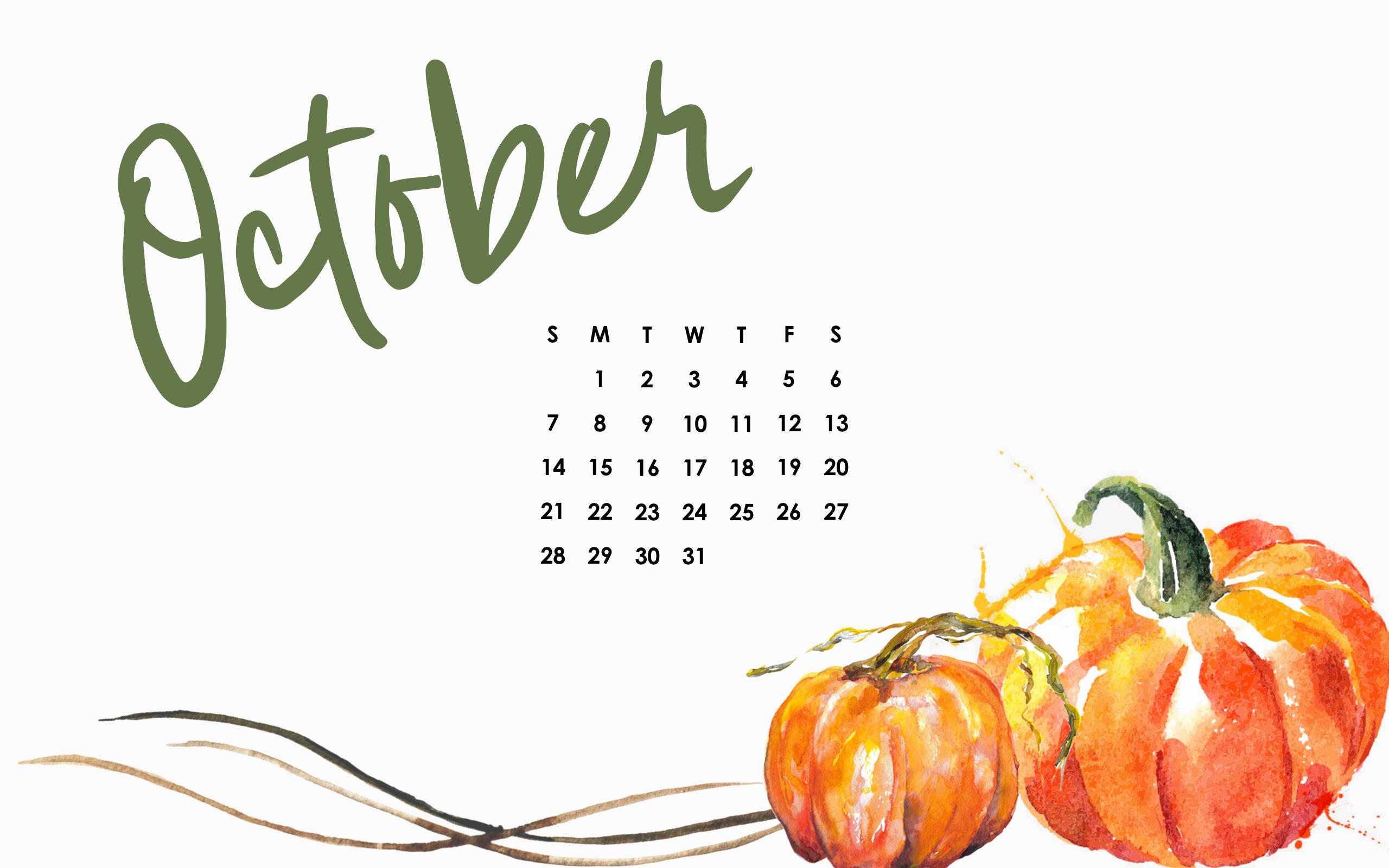 October Desktop Calendar: Free Download